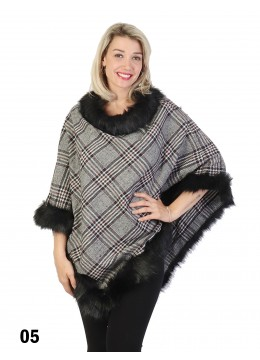 Plaid Poncho W/ Fur Collar & Trim /Burgundy