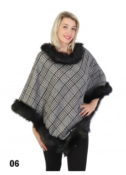 Plaid Poncho W/ Fur Collar & Trim /Navy