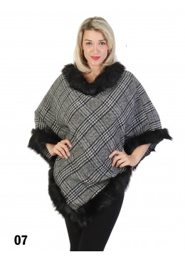 Plaid Poncho W/ Fur Collar & Trim /Black Brown