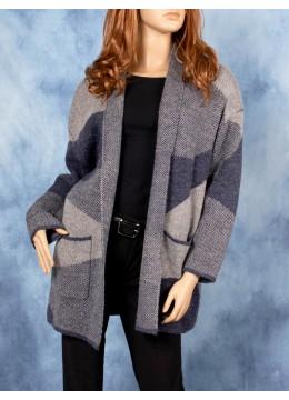 Geometric Knit Cardigan W/ Pockets