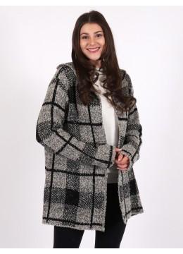 Plaid Print Knit Cardigan