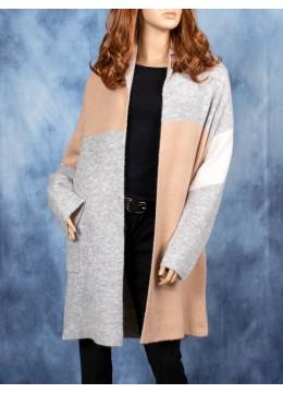 Colour Block Knit Cardigan W/ Pockets