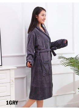 Flower Embroidered Microfiber House Robe W/ Pockets