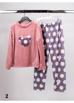 Long Sleeve Flannel Lounge Set W/ Mickey Pattern