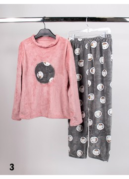 Long Sleeve Flannel Lounge Set W/ Smiling Face Pattern