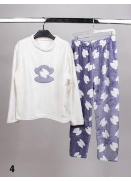 Long Sleeve Flannel Lounge Set W/ Monkey Pattern