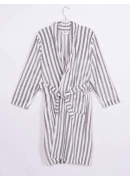 Vertical Striped House Robe W/ Pockets