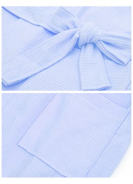 Waffle Monochrome House Robe W/ Pockets
