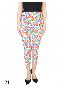 Colorful Hearts Print Stretch Capri Cropped Legging