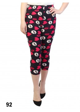 Lovely Kiss Print Stretch Capri Cropped Legging