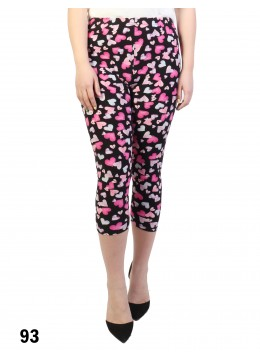 Heart Print Stretch Capri Cropped Legging