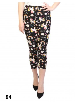 Unicorn Print Stretch Capri Cropped Legging