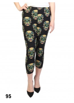 Skull Print Stretch Capri Cropped Legging