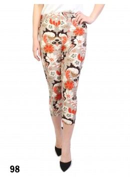 Paisley Print Stretch Capri Cropped Legging