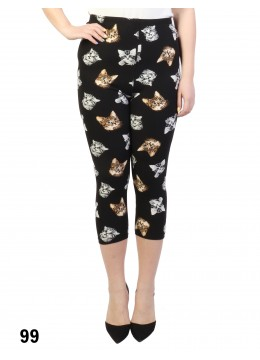 Kitten Print Stretch Capri Cropped Legging