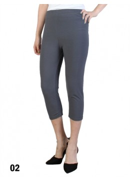 Plus Size Stretch Capri + /Grey
