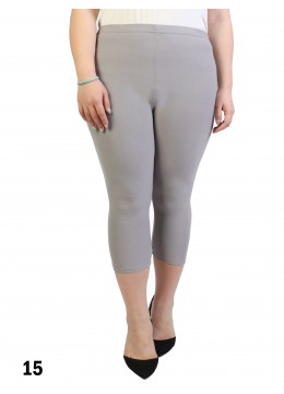 Plus Size Stretch Capri + /Light Grey
