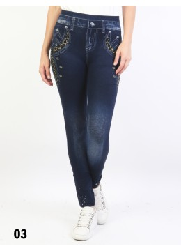 Low-Rise Denim Style Stretchy Fleece Lined Leggings /Leopard