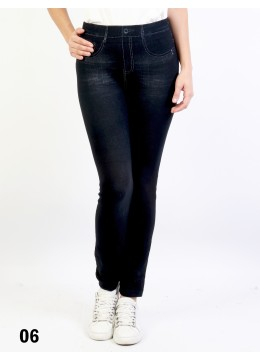 Low-Rise Denim Style Stretchy Fleece Lined Leggings /Peony