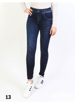 Low-Rise Denim Style Stretchy Fleece Lined Leggings /Blue Rose