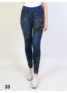 Low-Rise Denim Style Stretchy Fleece Lined Leggings /Plain 1