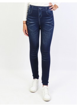 Mid-Rise Denim Style Stretchy Fleece Lined Leggings /Plain
