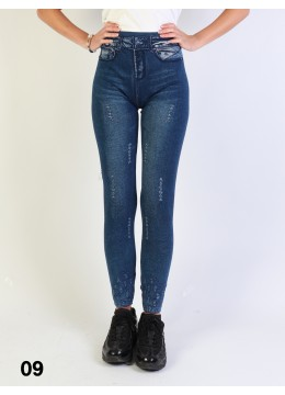 Mid-Rise Denim Style Stretchy Fleece Lined Leggings /Distressed