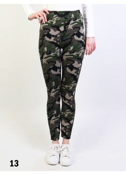 Mid-Rise Denim Style Stretchy Fleece Lined Leggings /Turquoise Forest