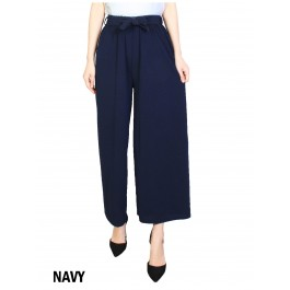 Solid Color Wide-Leg Cropped Pants W/ Waist Strap