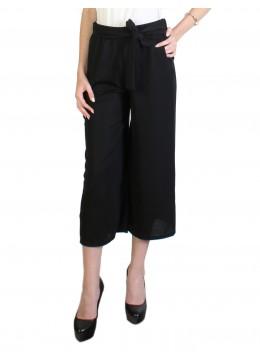 Solid Color Wide-Leg Ankle-length Pants W/ Pocket