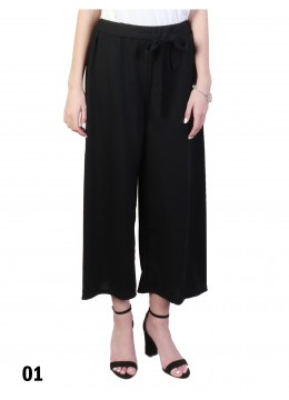 Solid Color Wide-Leg Cropped Pants W/ Waist Strap /Black