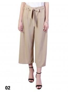 Solid Color Wide-Leg Cropped Pants W/ Waist Strap /Beige