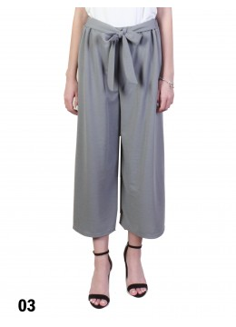 Solid Color Wide-Leg Cropped Pants W/ Waist Strap /Grey