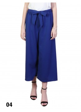 Solid Color Wide-Leg Cropped Pants W/ Waist Strap /Royal Blue