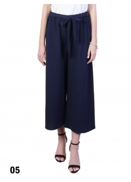 Solid Color Wide-Leg Cropped Pants W/ Waist Strap /Navy