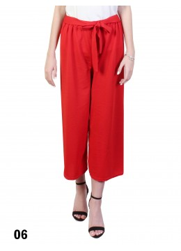 Solid Color Wide-Leg Cropped Pants W/ Waist Strap /Red