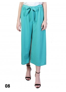 Solid Color Wide-Leg Cropped Pants W/ Waist Strap /Turquoise
