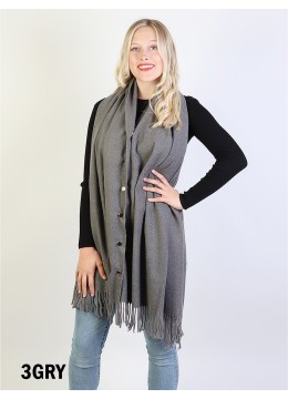 Cashmere Feeling Shawl w/ Openable Button Details