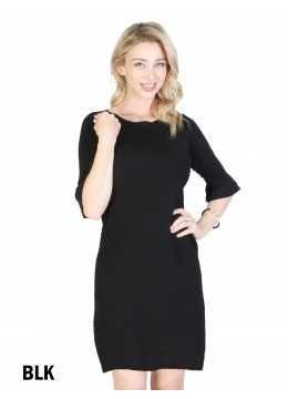 Classic High End Stretchy Bell Sleeved Knit Dress/Black