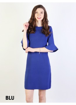 Classic High End Stretchy Bell Sleeved Knit Dress/Blue