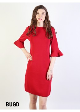 Classic High End Stretchy Bell Sleeved Knit Dress/Burgundy