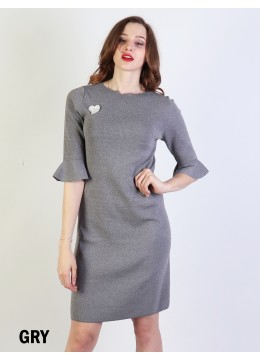 Classic High End Stretchy Bell Sleeved Knit Dress/Dark Grey