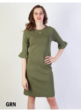 Classic High End Stretchy Bell Sleeved Knit Dress/Green