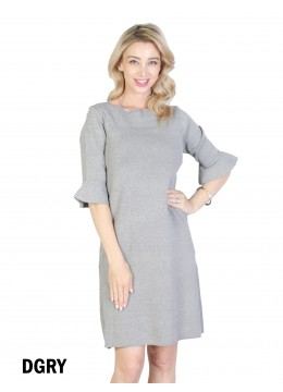 Classic High End Stretchy Bell Sleeved Knit Dress/Grey