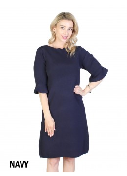 Classic High End Stretchy Bell Sleeved Knit Dress/Navy