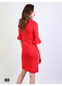 Classic High End Stretchy Bell Sleeved Knit Dress/Red