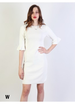 Classic High End Stretchy Bell Sleeved Knit Dress/White