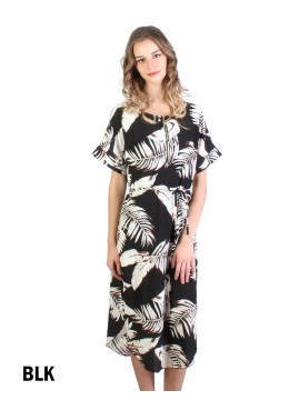 Feather Print Dress W/ Belt & Zipper /Black