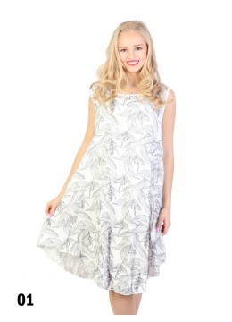 Fashion Dress With Leaves Printed /White