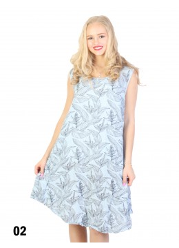 Fashion Dress With Leaves Printed /Blue